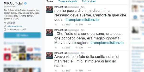 Mika risponde alla scritta omofoba sui suoi manifesti: «Non ho paura di chi discrimina»