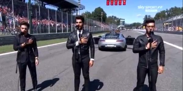 Il Volo canta l'Inno di Mameli al GP di Monza – video
