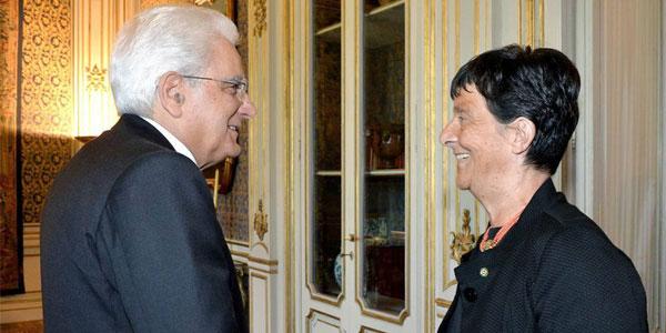 Emilia Guarnieri e Presidente della Repubblica Sergio Mattarella