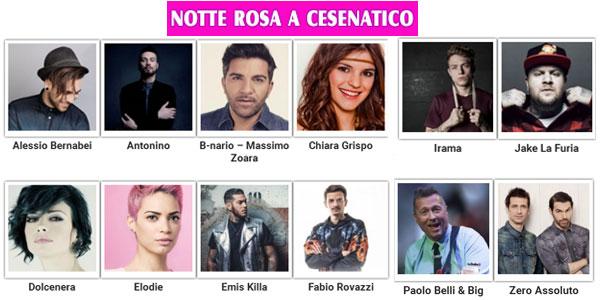 La Notte Rosa 2016 con Alessio Bernabei, Chiara Grispo, Elodie e altri a Cesenatico
