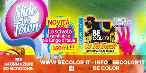 Cervia: oggi 20 agosto la corsa BeColor con lo scivolo d'acqua più lungo d'Italia