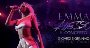 Emma stasera 5 gennaio concerto Italia 1 scaletta anticipazioni