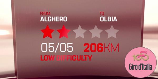 Giro d'Italia 2017: tappa 1 Alghero-Olbia 5 maggio