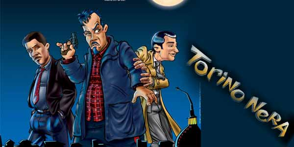 Torino Nera film al cinema: locandina con personaggi tipo fumetto